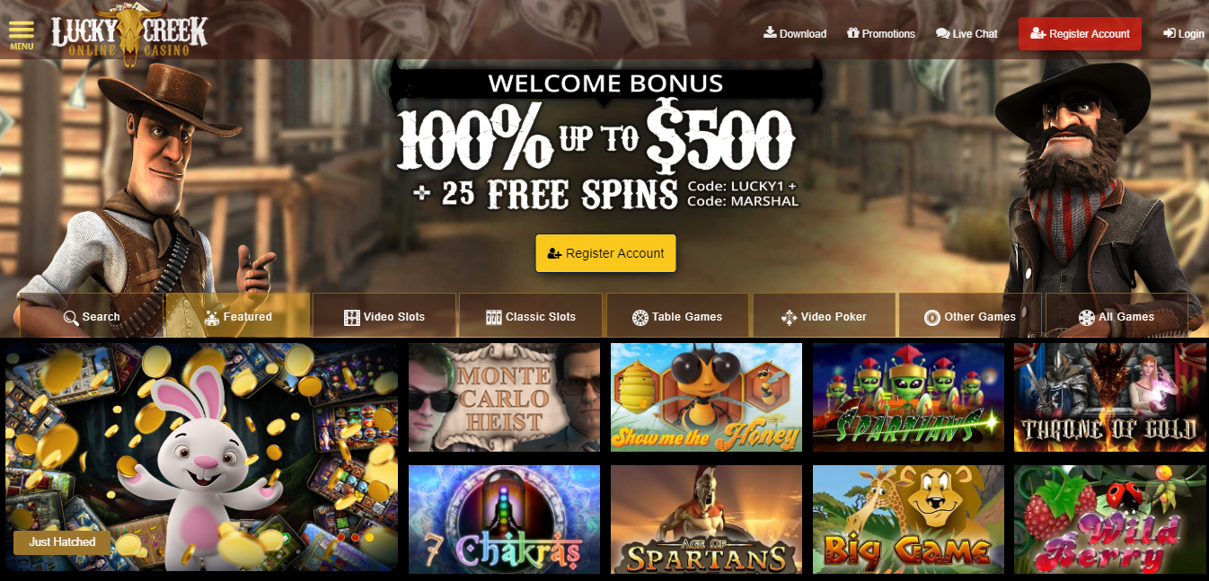 Lucky Creek Online Casino | Up to $500 Welcome Bonus | Download & Play!
